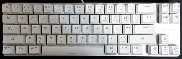 Compact 65% layout, 68 keys.