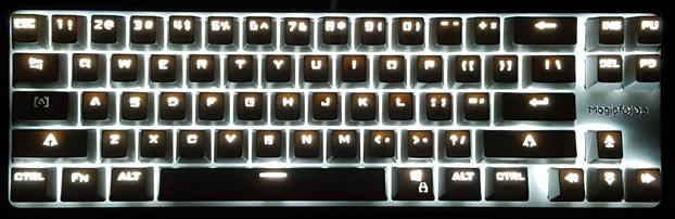 LED illumination in a dark room.
