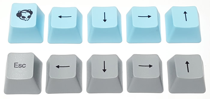 Includes alternate set of gray Escape and Arrow keys