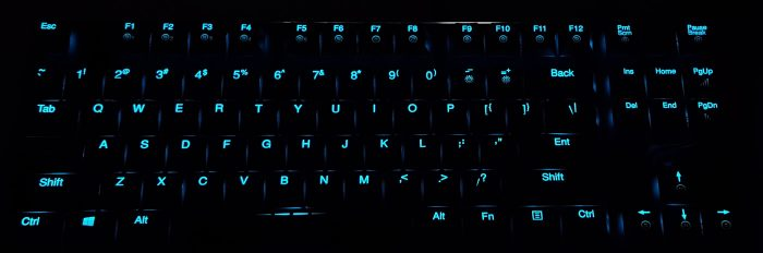 Backlit keys in a dark room