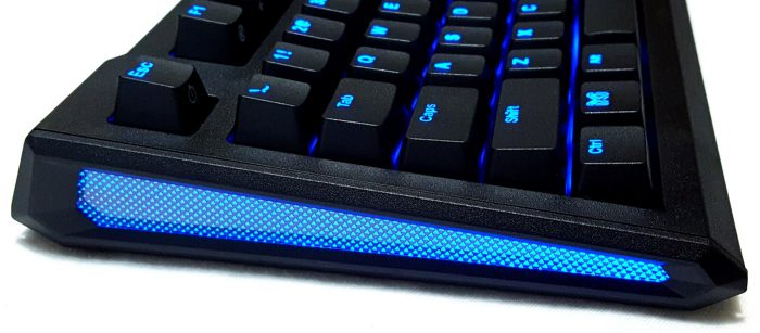 Blue ambient side lighting feature of the Max Keyboard Blackbird