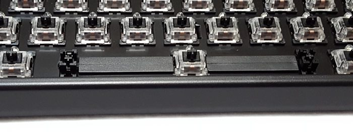 Cherry stabilizers and rubber inserts under spacebar.