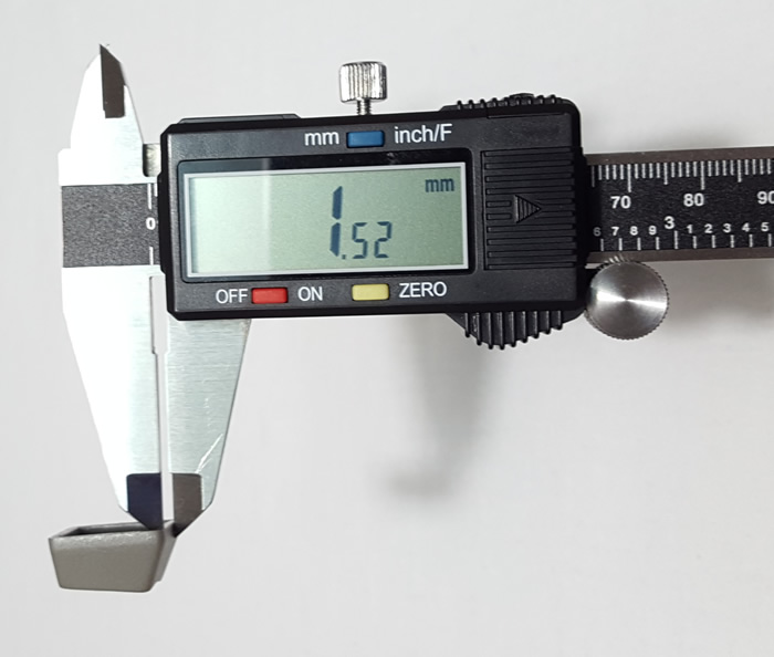 Measuring keycap thickness with caliper