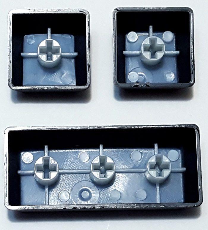Keycap thickness, underside view