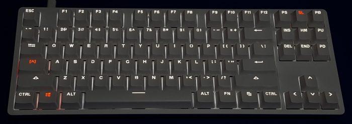 White LED backlit keys with orange for enabled lock keys