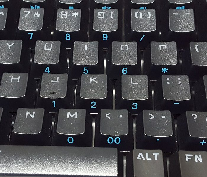 Number pad on function layer accessed with Fn + NumLock.