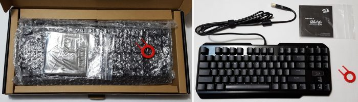 Unboxing the keyboard with accessories and documentation.