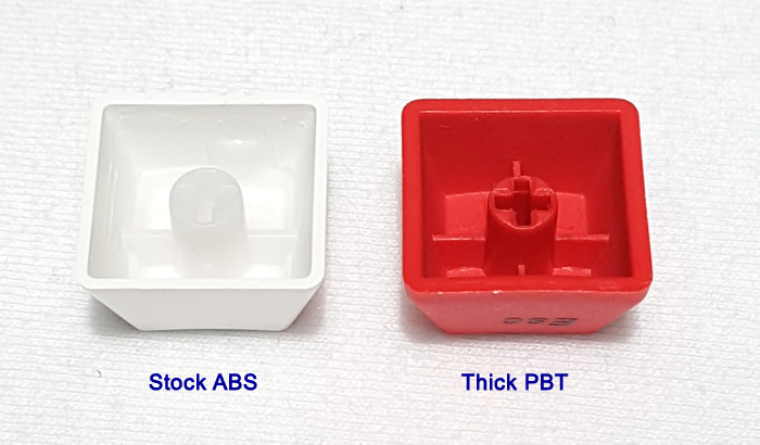 Comparison of stock keycaps vs thick PBT upgrades