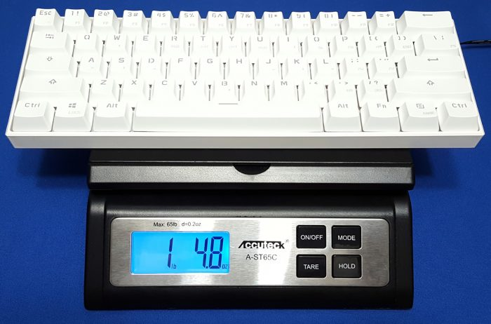 The Anne Pro weighs in at 1 pound 4.8 ounces