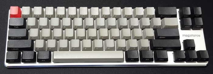 Magicforce 68 upgraded to thick, side-printed PBT keycaps