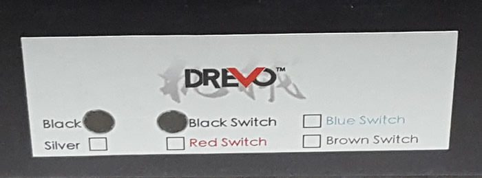 Sticker showing color and switch type.