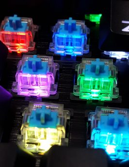 Translucent switching housing accentuates the RGB backlight.