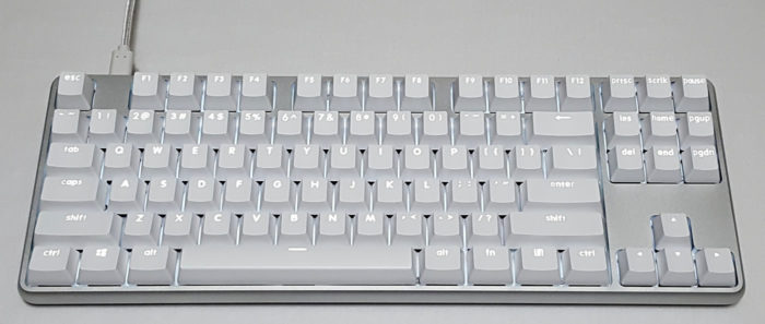 Single color (white) backlit keys